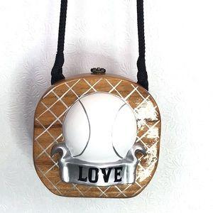 Timmy Woods Tennis Love Wooden Purse Bag